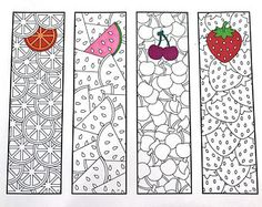 Printable Zentangle Bookmarks Page 4 Scribble & Stitch - fruits fruit oranges lemons watermelon cherries strawberries simple cute kids activity food summer Coloring For Kids, Printable Coloring Pages, Coloring Pages For Kids, Coloring Sheets, Adult Coloring, Coloring Books, Free Printable Bookmarks, Bookmark Template, Paper Crafts