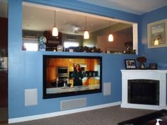 Wireless TV Installation | Fresh Look Renovations 4 port $468 Wireless Home Theater, Home Theater Speakers, Home Theater Projectors, Theater Room Decor, Tv Installation, Home Cinemas, Mounted Tv, Custom Homes, New Homes