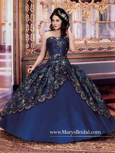 P.C. Mary's Bridal Princess Quinceanera Gown F11-4Q710 (Metallic Embroidery) Dress by Dessy from Dress Direct