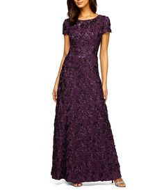 Eggplant:Alex Evenings Sequined-Lace Rosette-Rose Gown