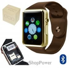 "GLOBAL TCHNOLOGY A1 SMARTWATCH BLUETOOTH OROLOGIO DA POLSO TELEFONO MICRO SIM CON FOTOCAMERA LCD 1,54"" CINTURINO INTERCAMBIABILE IN GOMMA PER ANDROID E IOS GOLD BROWN MARRONE ORO - SU WWW.MAXYSHOPPOWER.COM"