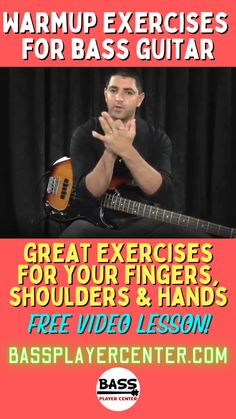Free video lessons shows you great warmup exercises for your fingers, right hand, left hand, and shoulders - prevent injury and improve your bass guitar playing technique #WarmUps #BassGuitar #BassExercises #BassPractice Bass Guitar Scales, Play Guitar Chords, Learn Bass Guitar, Bass Guitar Lessons, Guitar Lessons For Beginners, Guitar Songs, Finger Exercises, Guitar Exercises, Teach Yourself Guitar