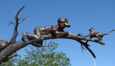 Attempted Kitty Rescue  sculpture by Glenna Goodacre  Rio Grande Botanical Garden  Photo by veesees