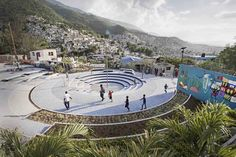 "Completed in 2016 in Haiti. Images by Gianluca Stefani, Etienne Pernot du Breuil. Tapis Rouge is one of several public spaces in Carrefour-Feuilles, Haiti, built under program LAMIKA, whose acronym stands for ""A better life in my..."