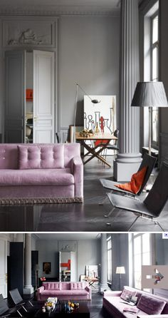 Gray Interior with a Pop of Pink