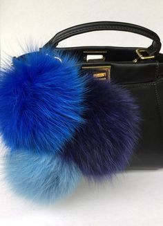 f909032ba2 Trio Blue Sky Fox fur pom pom corsage Bag Charm by YogaStudio55 Different  Blue Colors