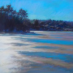 Ed Chesnovitch, landscape pastel painting, Cape Cod, East Sandwich, Provincetown, winter, salt marsh, ocean, ice, thaw