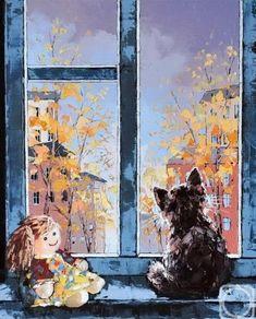 "windows-in-art: "" Alexander Gunin "" Cat Drawing, Painting & Drawing, Image Chat, Art For Art Sake, Russian Art, Native American Art, Beautiful Artwork, Cat Art, Watercolor Art"