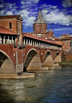 Travel: Pavia, Italy.  Pavia is a town and comune of south-western Lombardy, northern Italy, 35 kilometres south of Milan on the lower Ticino river near its confluence with the Po. It is the capital of the province of Pavia. It has a population of c. 71,000. Wikipedia