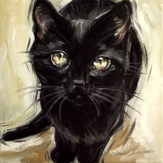 Black cat painting - original oil 8 x 8 inches by Diane Irvine Armitage.