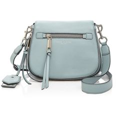 Marc Jacobs Recruit Small Nomad Leather Saddle Bag (17,645 INR) ❤ liked on Polyvore featuring bags, handbags, shoulder bags, green shoulder bag, green leather handbag, leather saddle bags, marc jacobs purse and genuine leather purse