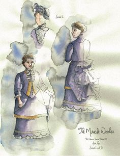The Miracle Worker (Aunt Ev). Costume design by Joscelyne Oktabetz. The Miracle Worker, Costume Design Sketch, Aunt, Theatre, Opera, Naked, Characters, Costumes, Brown