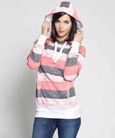 Loving this Orange & Gray Stripe Los Angeles Hoodie on #zulily! #zulilyfinds