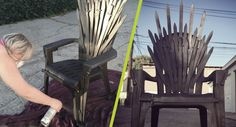 DIY: Iron Throne make your own Iron Throne for your next Game of Thrones Party. - Game Of Thrones Game Of Thrones Chair, Game Of Thrones Theme, Game Of Thrones Bedroom, Game Of Thrones Gifts, Game Of Thrones Cosplay, Game Thrones, Game Of Thrones Halloween, Game Of Thrones Birthday, Game Of Thrones Christmas