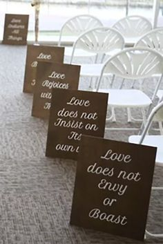 Wedding aisle signs with bible verse written on them. Also use as wedding decor at the Rustic Wedding Venues, Rustic Wedding Flowers, Budget Wedding, Fall Wedding, Our Wedding, Wedding Planning, Wedding Stuff, Magical Wedding, Wedding Bells