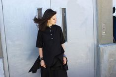 FREE SHIPPING Black Linen Shirt / Asymmetric Summer by Fraktura