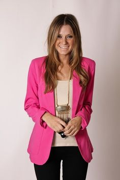 hot pink blazer and necklace