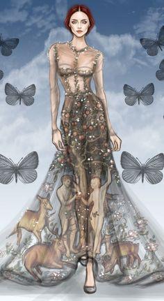 Valentino 2014 Haute Couture Fashion Illustration by Shamekh Bluwi