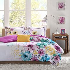 BEAUTIFUL 5PC MODERN CHIC PINK WHITE PURPLE TEAL BLUE YELLOW GIRLS COMFORTER SET