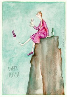 "Christina Thrän: Briefkarte ""Carpe Diem"" - Pin to Pin Illustrations, Illustration Art, Happy Paintings, I Love Girls, Favorite Words, Funny Cards, Happy People, Fantasy Paintings, Girl Humor"