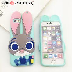 Silicone Zootopia Judy Téléphone Case Pour iphone 6 6s plus Case 4.7» 5.5 'Fundas Bande Dessinée Mignon coque couverture arrière pour apple iphone 6s