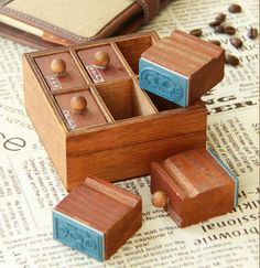 Vintage Drawer Stamps  Rubber Stamp  Korean Stamps by mieryaw, $14.20