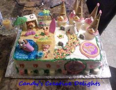 **Candy's Creative Delights** Princess and Littlest Pet Shop cake for two Sisters