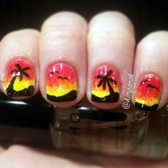 Red to yellow ombre nails with palm trees | Sunset Nails by Kinga | Nail It Magazine Love Nails, How To Do Nails, Fun Nails, Pretty Nails, Glitter Acrylics, Colorful Nail Designs, Cute Nail Designs, Beach Themed Nails, Sunset Nails