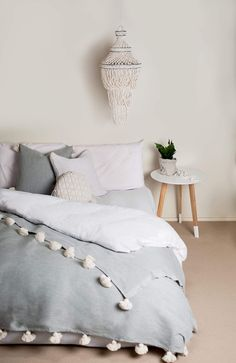 Tassel throw blanket & cushions available at Sea Trib… Grey coastal boho bedroom. Tassel throw blanket & cushions available at Sea Tribe Coastal Bedrooms, Coastal Living Rooms, Boho Bathroom, Bathroom Trends, Bunk Bed With Desk, Boho Bedding, Modern Bedding, Luxury Bedding, Wet Rooms