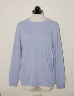 PURE Collection 100% Cashmere Woman's Blue Oersize Crewneck Sweater S #PURECollection #Crewneck