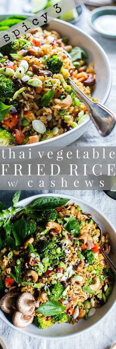 Crunchy, Seasonal Veggies Shine In Thai Vegetable Fried Rice With Cashews. Prep Ahead For Meal Planning And Dinner Comes Together Fast Top With Crunchy Sesame Seeds And Green Onions, For That Authentic Flavor. Veggie lover Or Vegetarian Gluten Free Vegetarian Recipes Dinner, Vegan Dinners, Veggie Recipes, Whole Food Recipes, Dinner Recipes, Cooking Recipes, Healthy Recipes, Vegetarian Meal Planning, Vegetarian Cooking