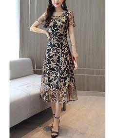04c99b0da39 Love this Golden Floral Sheer-Layer Midi Dress - Women on  zulily!