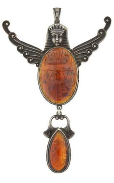 Gaaaaaaaa! Yes! -K-   *Art Nouveau Sterling and Amber Egyptian Revival Scarab Pendant, Circa 1900.