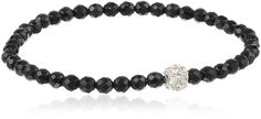 Silver-Tone Rhinestone Fireball Accent on Black Spinel Stretch Bracelet 7.5' >>> Wow! I love this. Check it out now! : Jewelry