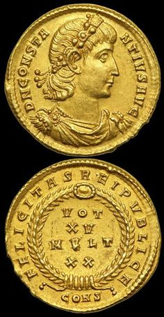 ~ Coins : Roman Gold Solidus of Constantine (struck 337-340 AD.