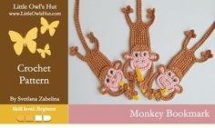 Monkey bookmark crochet pattern