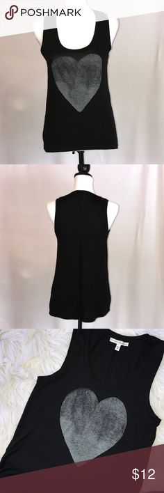 """Black Tank Top with Gray Heart XS Black soft stretch tank top. Distressed gray heart screen on front.   In great condition.  Size XS.  Pit to pit laying flat 16"""", length in front 24"""", length back 25.5"""".  Fabric tag has been removed - feels like cotton poly blend. Express Tops Tank Tops"""