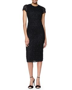 B2R32 Burberry London Silk Lace Midi Dress, Black