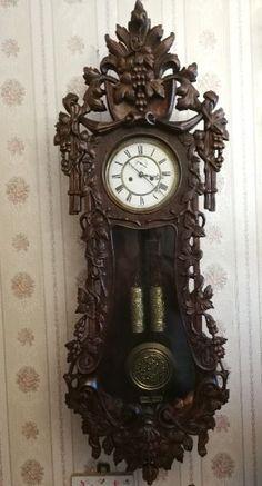 Zegar Gustav Becker ręcznie rzeźbiony Pendulum Clock, Wood Carving Designs, Old Clocks, Grandfather Clock, Antique Watches, Black Forest, Burlesque, Antiques, Decor
