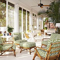 """Fresh Ideas for Porches and Decks: From tropical lanais to open-air living rooms, these balmy outdoor spaces all say """"coastal"""" with a capital SEA. Looking to upgrade your personal retreat? Check out these stylish ideas. Beach Furniture, Rattan Furniture, Outdoor Furniture, Furniture Ideas, Sunroom Furniture, Cane Furniture, Rattan Sofa, Garden Furniture, Wicker Chairs"""