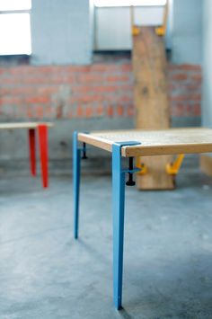 Straight out of Detroit, Alexa O'Dell tipped me off to this great DIY design leg that her studio produces. Make yourself a table, coffee table (or shelf) out of their Floyd clamp legs. Powdercoated steel in five colors.