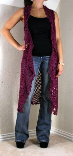 Umgee Wine Long Crochet Vest