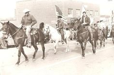 Vintage Photo MEN RIDING HORSES IN PARADE 1950s Photograph Old Picture HORSE