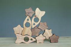 Wooden rocket toy, wooden blocks, balance game, Walforf