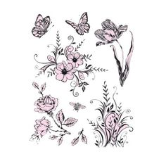 tampon dessin wild rose studio. panda et grand bouquet de fleurs