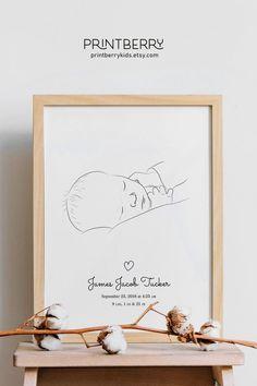 Custom birth stat print, newborn portrait from photo with baby stats, custom birth announcements, perfect newborn gift, custom birth art - Geburtsanzeige Boho Nursery, Baby Nursery Decor, Nursery Prints, Photo Bb, Birth Art, Beautiful Posters, Portraits From Photos, Baby Art, Newborn Gifts