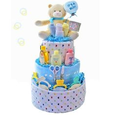 Baby Gift Baskets   Its A Boy 3 Tier Diaper Cake, Baby Boy Gift Basket, Baby Shower Gift