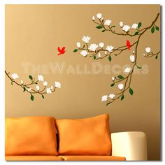 Magnolia flower wall decals