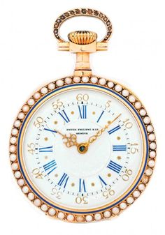 PATEK PHILIPPE 18KT YELLOW GOLD, CULTURED PEARL AND ENAMEL POCKET WATCH Swiss. 1925-1930, No. 206331. The circular dial, with Roman and Arabic numerals, with cultured pearl bezel on both side, and the case back with a painted enamel scene. Diameter 32mm.