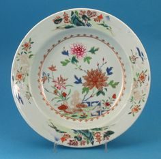 *FOR SALE* Click to read about the history and see more detailed images* FAMILLE ROSE CHINESE EXPORT DEEP SOUP PLATE, China, c.1750